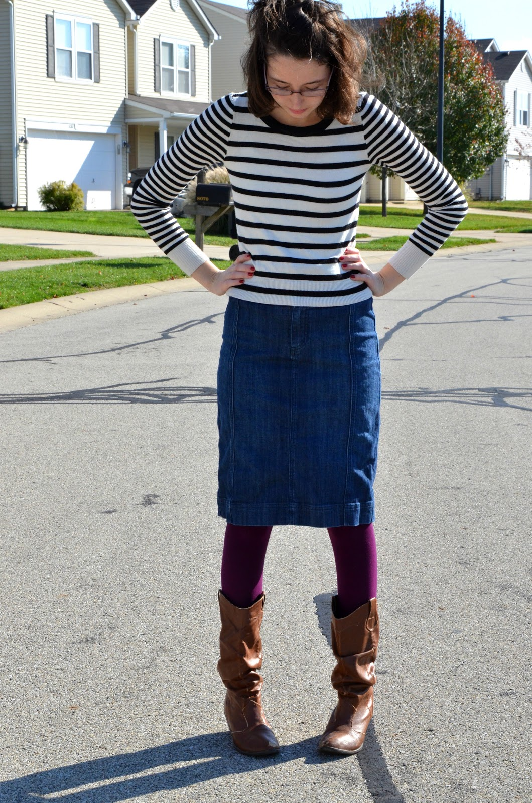 Blue jean skirt with boots – Modern skirts blog for you